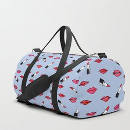 Lips and lispticks pattern in clear background Duffle Bag