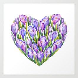 Crocus flower Heart shape Art Print