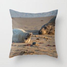 Grey Seal mum and pup Throw Pillow