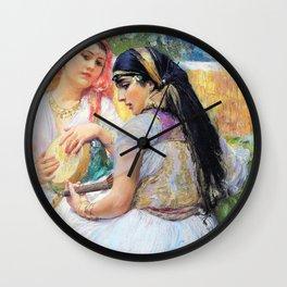 Two young Algerians - Frederick Arthur Bridgman Wall Clock