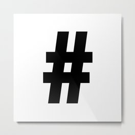 Hash Sign (Black & White) Metal Print