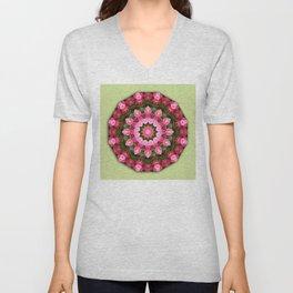 Floral mandala-style, Rose 001.1 Unisex V-Neck