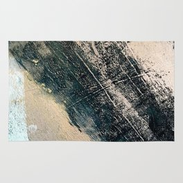 Honey 2: a pretty, minimal abstract mixed-media piece in blue, gold, and pink Rug