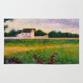 Landscape of the Ile de France Post-Impressionism landscape Oil Painting Countryside Cottages Farm Rug