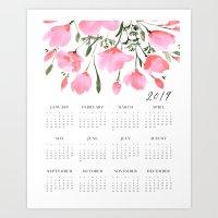 Pink watercolor flowers 2019 calendar Art Print