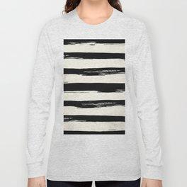 Tribal Paint Stripes Black and Cream Long Sleeve T-shirt