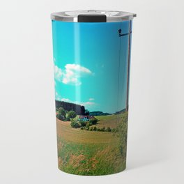 Clouds, a powerline and lots of green Travel Mug