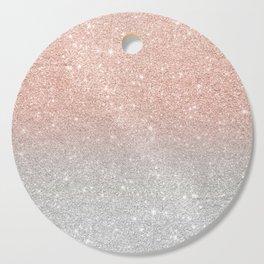 Modern trendy rose gold glitter ombre silver glitter Cutting Board