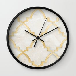 White Gold Marble Moraccan Style Pattern Wall Clock