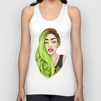 lady Tank Tops featuring Lady Neon by Helen Green