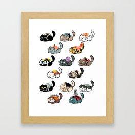 Cat Sushi Installation 2 Framed Art Print