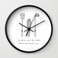kitchen Wall Clocks featuring the whisk wasn't the tallest by Marc Johns