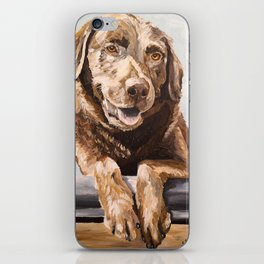 Chocolate Lab Art, Lab Painting, Cute Pet Art iPhone Skin