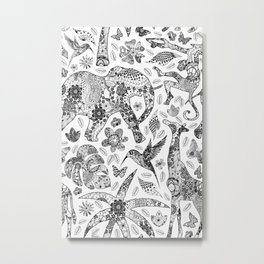 Black N White Line Art Safari Wildlife  Metal Print