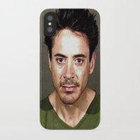 robert downey jr iPhone & iPod Cases featuring Robert Downey Jr. Mugshot by Neon Monsters