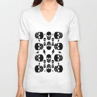 skulls V-neck T-shirts featuring skullS by HEADBANGPARTY