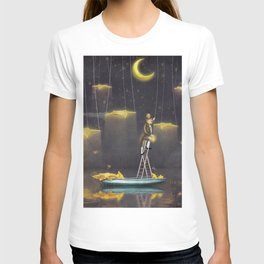 Man reaching for stars  at top of tall ladder T-shirt