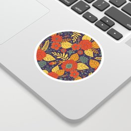 Orange, Purple, Teal & Yellow Floral Pattern Sticker