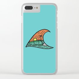 Wave in a Wave - Teal Clear iPhone Case