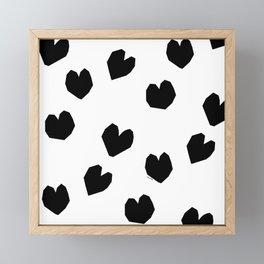 Love Yourself no.2 - black heart pattern love art black and white illustration Framed Mini Art Print