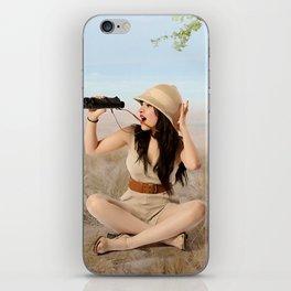 """Safari"" - The Playful Pinup - Khaki Safari Pin-up Girl by Maxwell H. Johnson iPhone Skin"