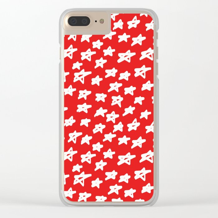 Stars on red background Clear iPhone Case