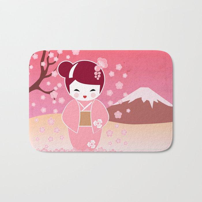 Sakura Japanese Doll Kokeshi Bath Mat