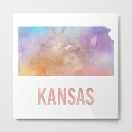 Watercolor State - KS Metal Print