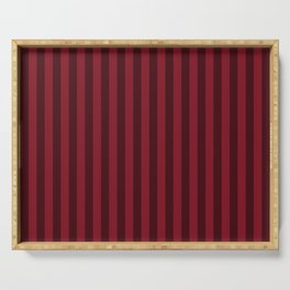 Burgundy Red Stripes Pattern Serving Tray