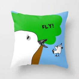 Fly! Little Birds Leaves the Nest Throw Pillow