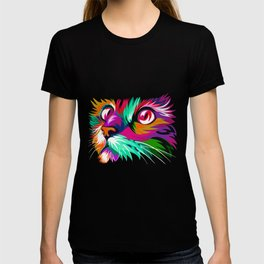 Cute Cat Graphic Colorful Paint Women Tshirt for Cat Lovers T-shirt