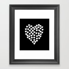 Hearts on Heart White on Black Framed Art Print