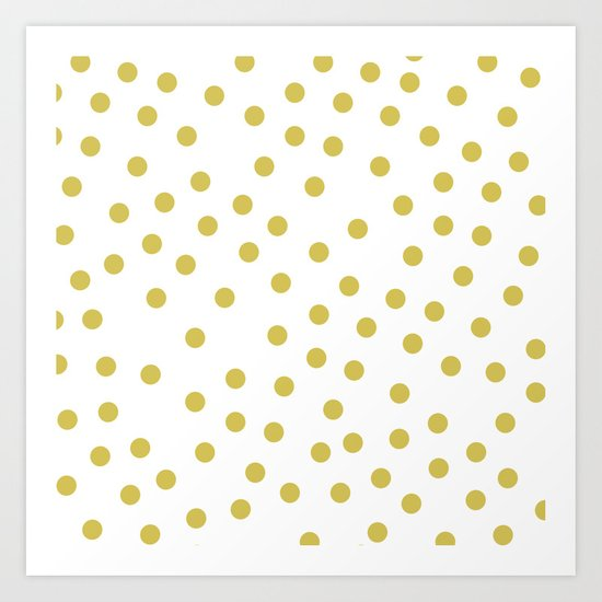 Simply Dots in Mod Yellow on White Art Print