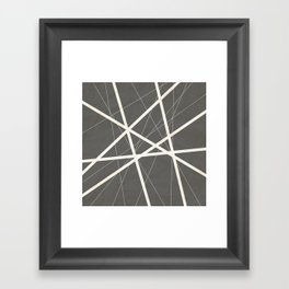 White Lines Retro Texture Framed Art Print