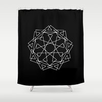 sacred geometry Shower Curtains featuring Sacred Geometry Print 2 by poindexterity