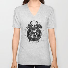 Hand drawn grunge illustration of the alarm clock with handwriting inscription Rise an Shine Unisex V-Neck