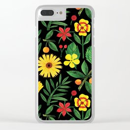 Black yellow orange green watercolor tulips daisies pattern Clear iPhone Case