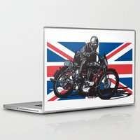 cafe racer Laptop & iPad Skins featuring Norton TT Racer by Ernie Young