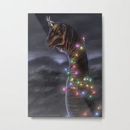 Brachiosaurus Christmas Tree Metal Print
