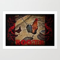 rooster Art Prints featuring Rooster by Justin Alan Casey