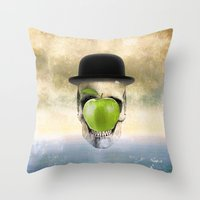 magritte Throw Pillows featuring Magritte Skull by HenryWine