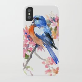 Bluebird and Cherry Blossom iPhone Case