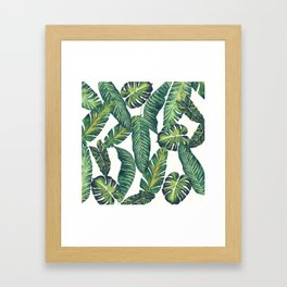 Jungle Leaves, Banana, Monstera II #society6 Framed Art Print