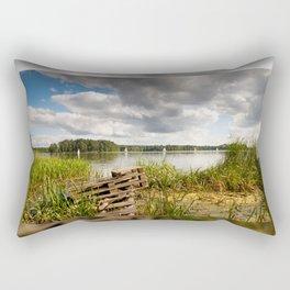 Old bridge and boats at the lake Rectangular Pillow