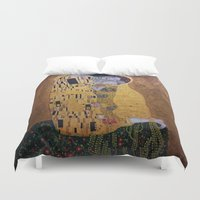 gustav klimt Duvet Covers featuring Copy of The Kiss - Klimt by JeyJey Artworks
