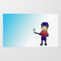 hockey Area & Throw Rugs featuring Hockey girl ! by Kana Aiysoublood