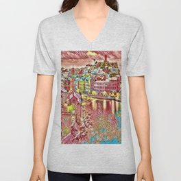 Italian Coast on a Boring Day Landscape by Jeanpaul Ferro Unisex V-Neck