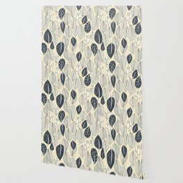 leaves and feathers cream Wallpaper