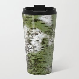 Birch Bark Pattern Green and White Wood Pattern Bring the Outdoors In Travel Mug