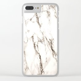 Brown Veined Marble Clear iPhone Case
